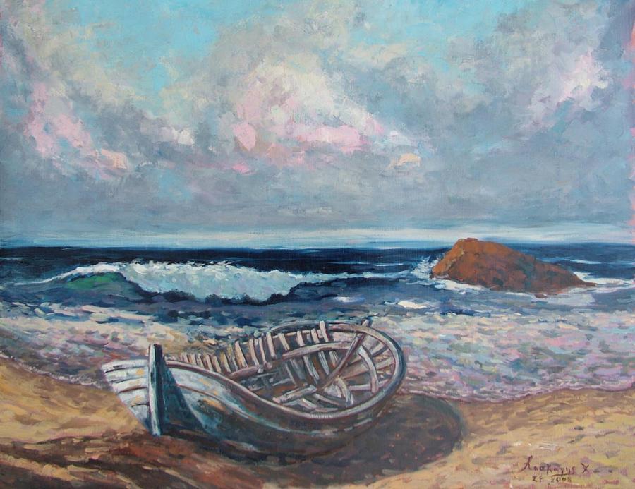Seascape Painting - Broken Boat by Charalampos Laskaris