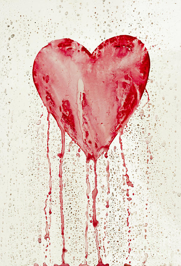 Bleeding Painting - Broken Heart - Bleeding Heart by Michal Boubin