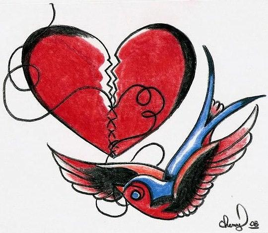 Bird Drawing - Broken Heart by Cheryl Shibley