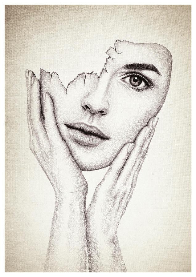 broken mask drawing by francesca sullivan