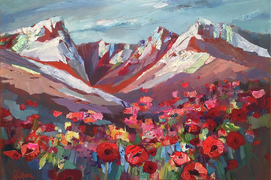 Red Flowers Painting - Broken Top Wildflowers by Shelli Walters