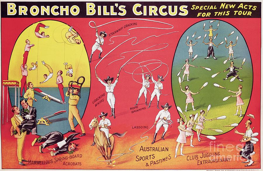Broncho Bill's Circus Painting - Bronco Bills Circus by English School