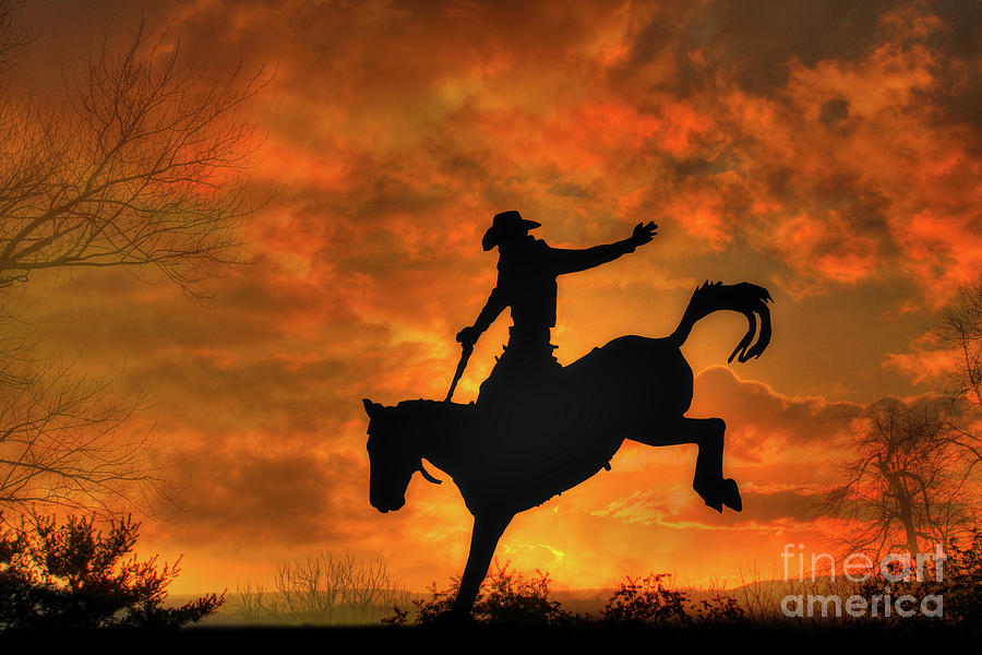 Bucking Bronco Digital Art - Bronco Riding Sunset by Randy Steele