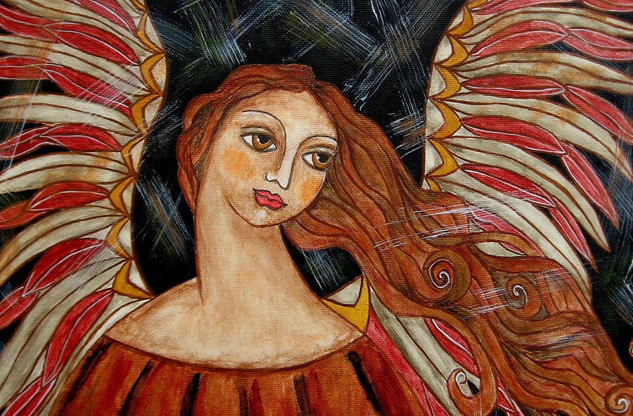 Acrylic Painting - Bronze Angel by Rain Ririn