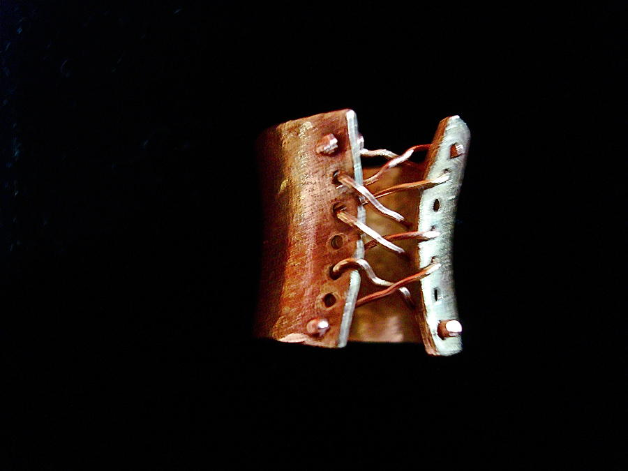 Bronze Sculpture - Bronze Corset Ring by Cydney Morel-Corton