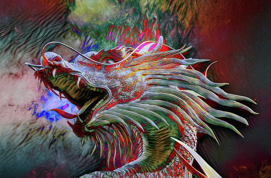 Abstract Photograph - Bronze Dragon Head by Robert Kinser