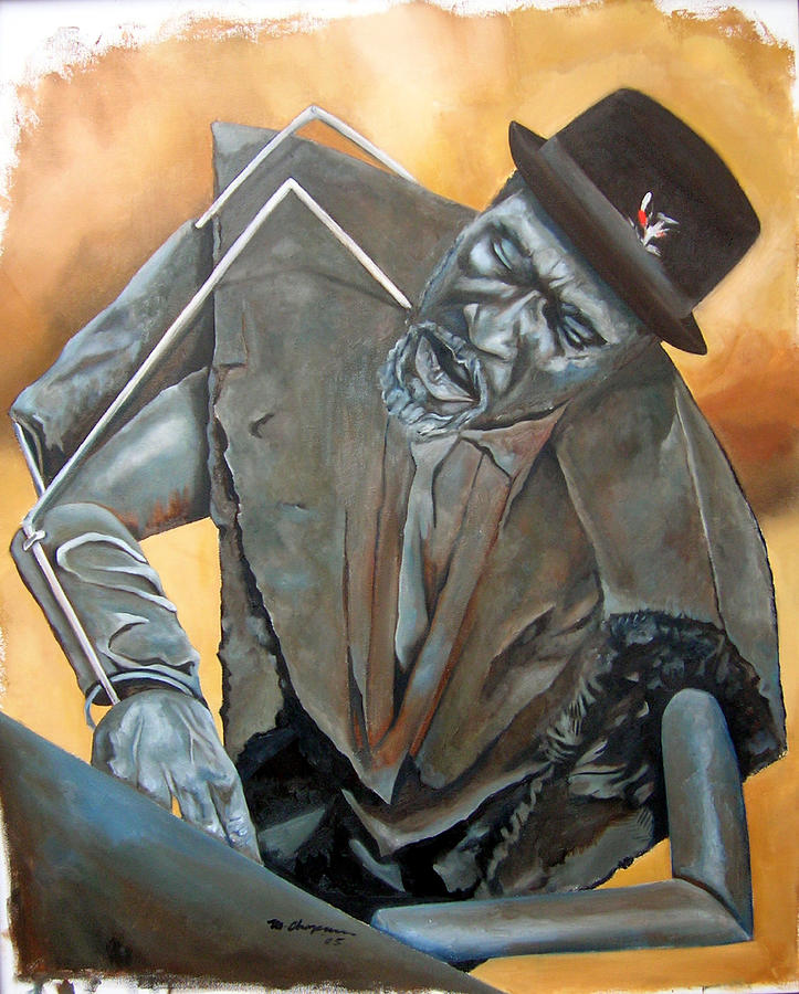 Thelonious Monk Jazz Piano Painting - Bronze Monk by Martel Chapman