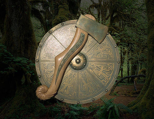 Bronze Shield And Axe Sculpture by Andrew Boyce