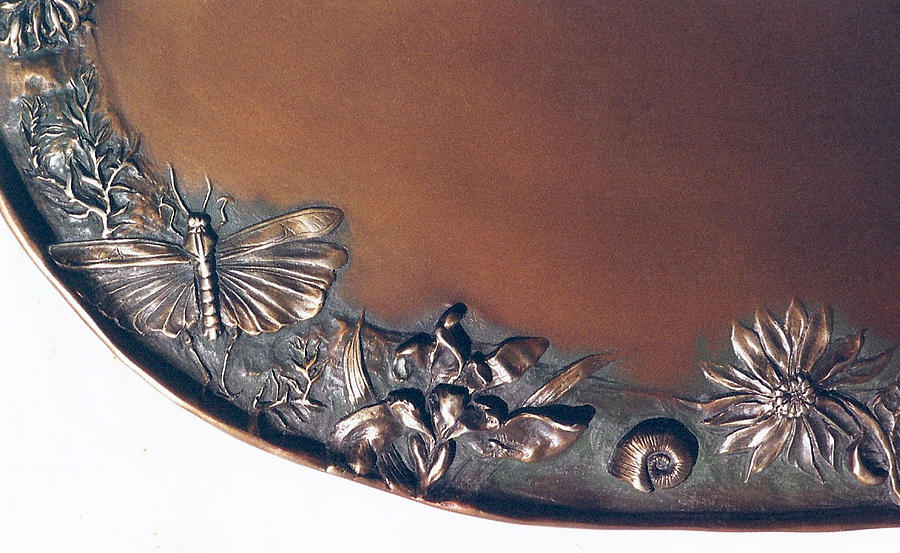 Floral Sculpture - Bronze Tray Detail With Locust by Dawn Senior-Trask