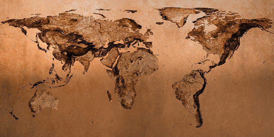 Bronze world map molar projection photograph by frans blok world map photograph bronze world map molar projection by frans blok gumiabroncs