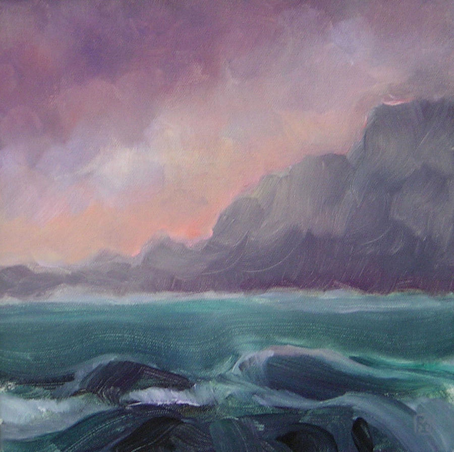 Seascape Painting - Brooding Tide by Mary Brooking