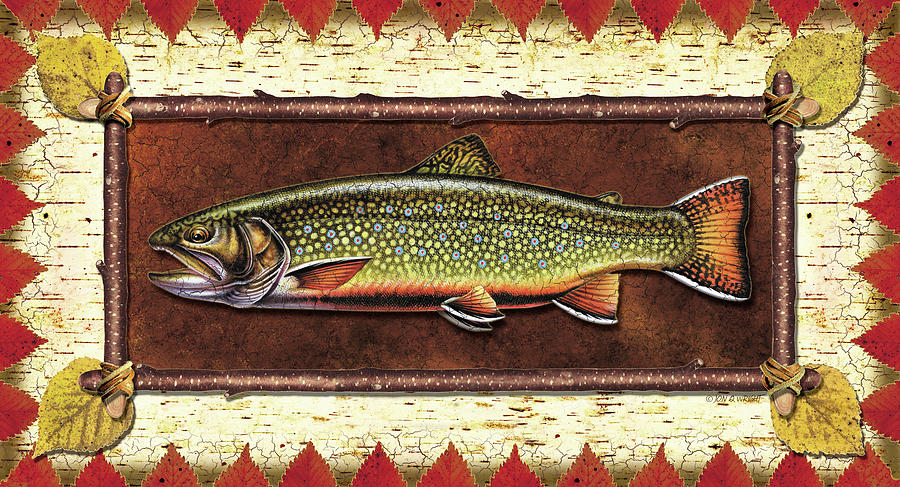 Trout Painting - Brook Trout Lodge by JQ Licensing