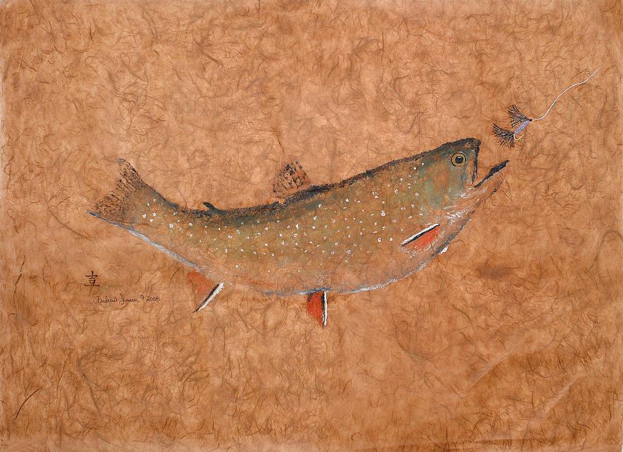 Gyotaku Painting - Brookie On The Chase by Andrew Jensen