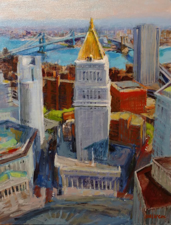 New York Painting - Brooklyn And East River Bridges From Foley Square by Peter Salwen