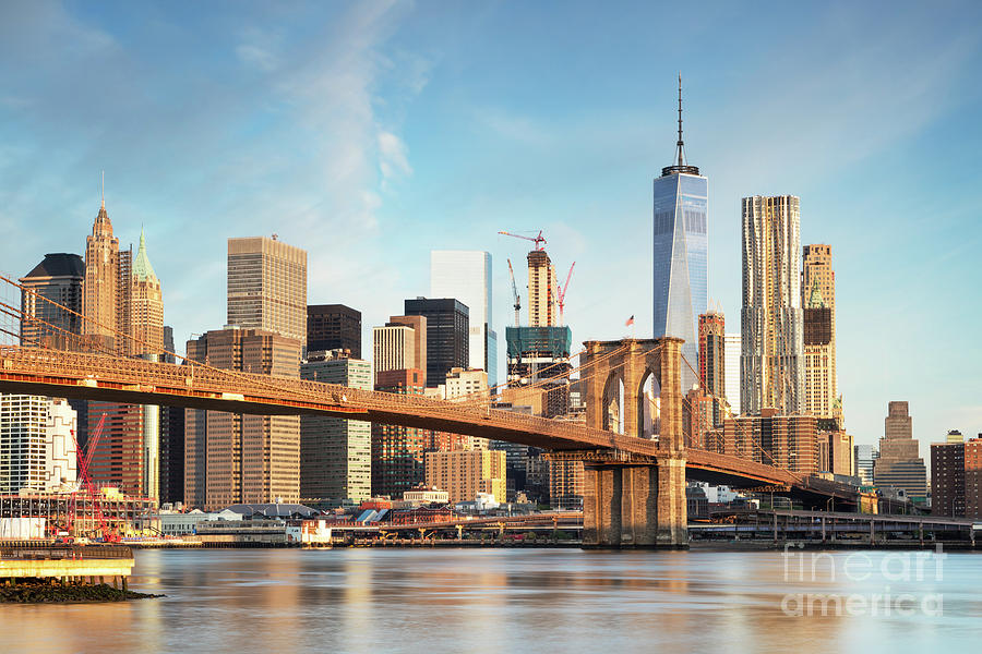 brooklyn bridge and lower manhattan skyline new york city usa photograph by matteo colombo. Black Bedroom Furniture Sets. Home Design Ideas