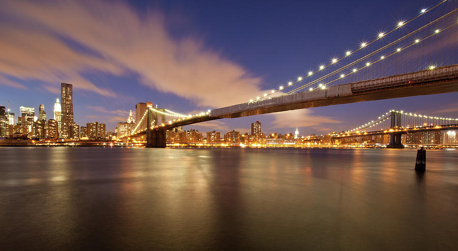 Horizontal Photograph - Brooklyn Bridge And Manhattan At Night by J. Andruckow