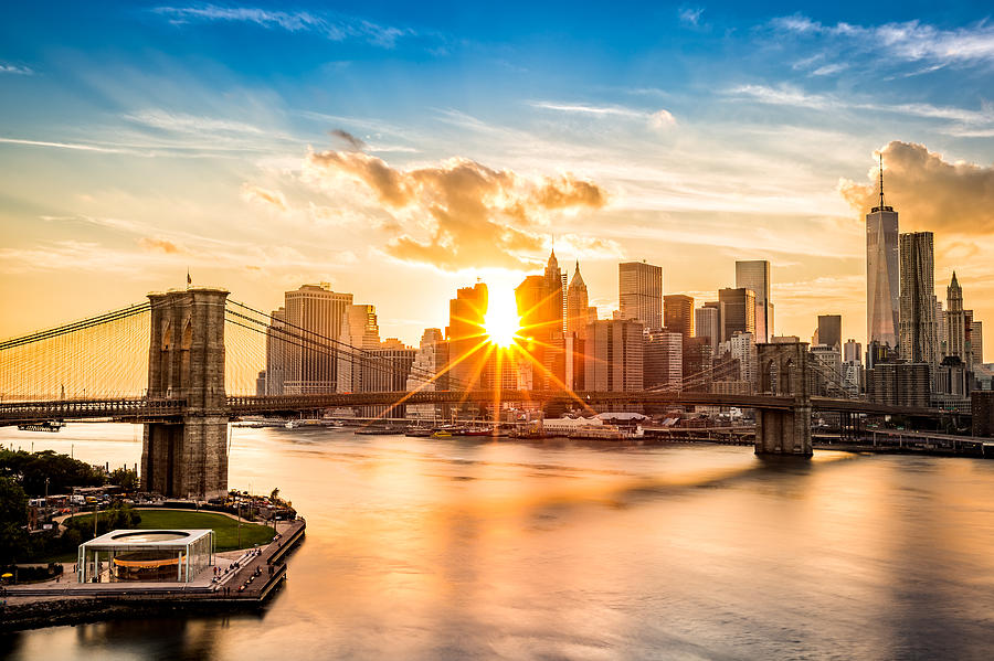 America Photograph - Brooklyn Bridge and the Lower Manhattan skyline at sunset by Mihai Andritoiu