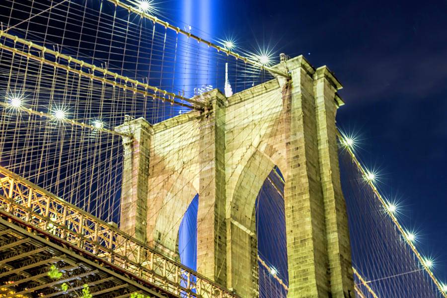 Brooklyn Photograph - Brooklyn Bridge And The Tribute In Light by Zev Steinhardt