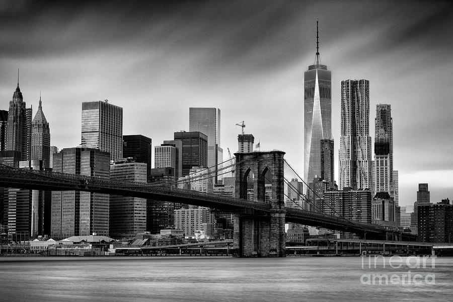 Manhattan Skyline Photograph - Brooklyn Bridge by John Farnan
