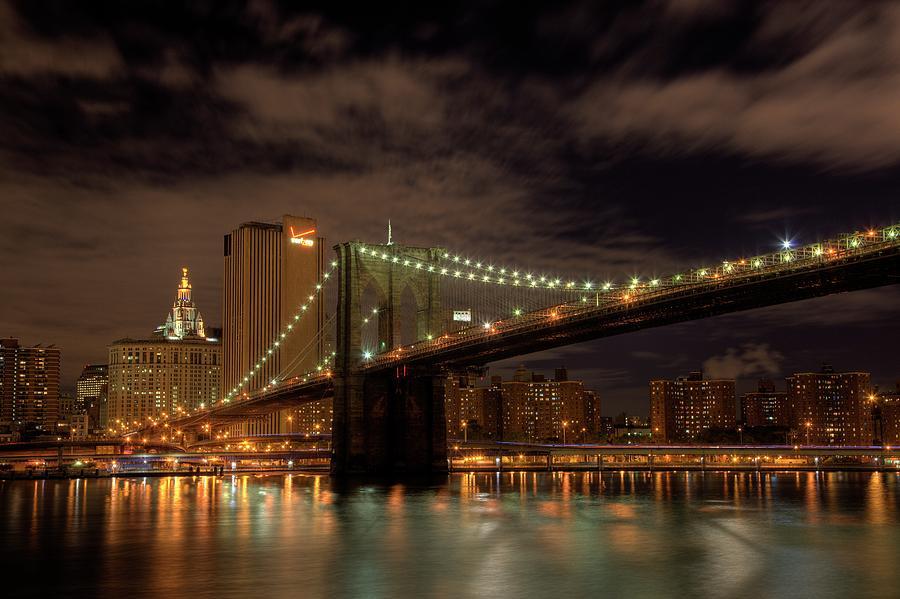 Brooklyn Bridge Photograph - Brooklyn Bridge At Dusk by Shawn Everhart
