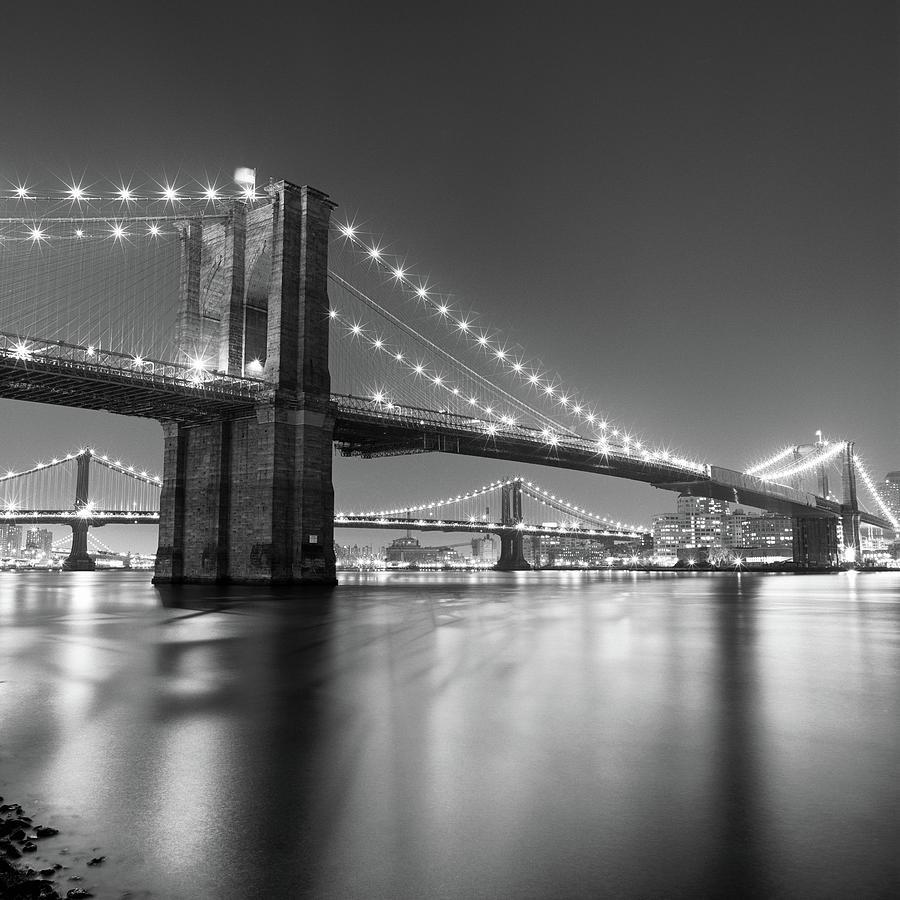 Square Photograph - Brooklyn Bridge At Night by Adam Garelick