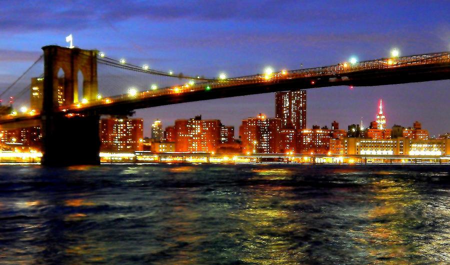 Manhattan Photograph - Brooklyn Bridge At Night by Charles Chin