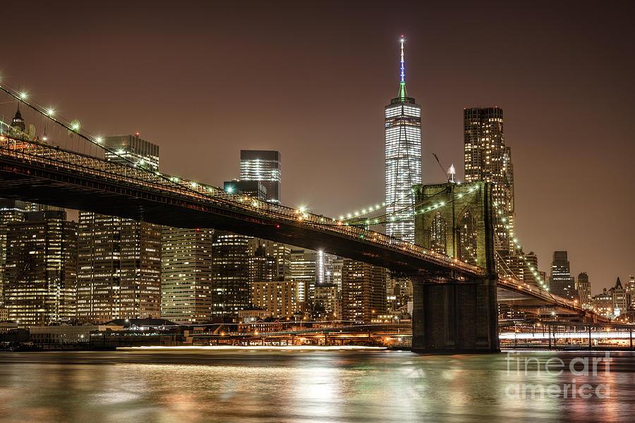 Brooklyn Bridge At Night Photograph