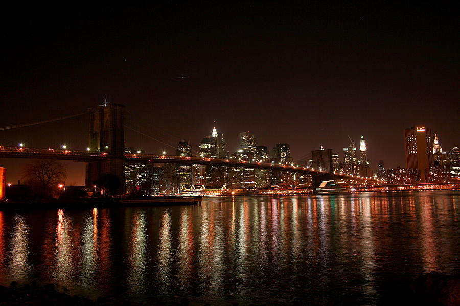 Brooklyn Bridge Photograph - Brooklyn Bridge At Night by Jason Hochman