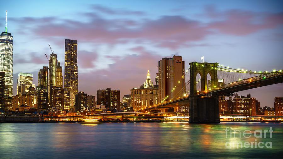 Brooklyn Bridge Blue Hour Photograph