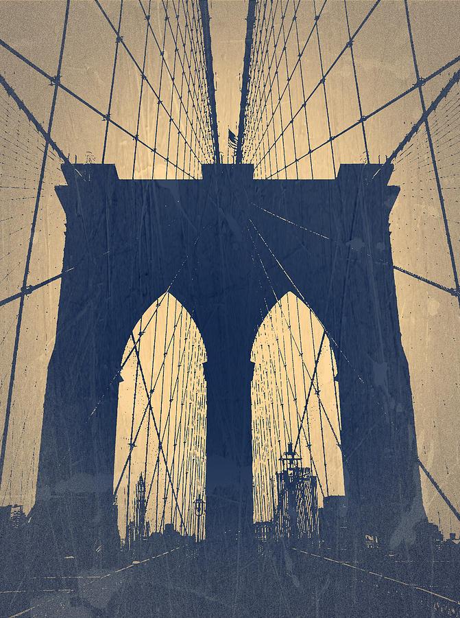 Brooklyn Bridge Photograph - Brooklyn Bridge Blue by Naxart Studio