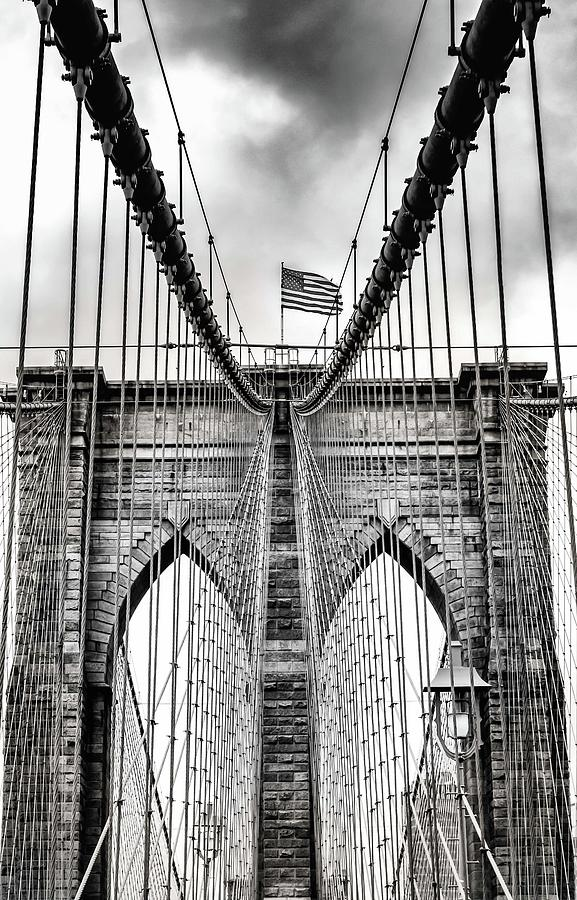 Brooklyn Bridge Bw Photograph by Framing Places