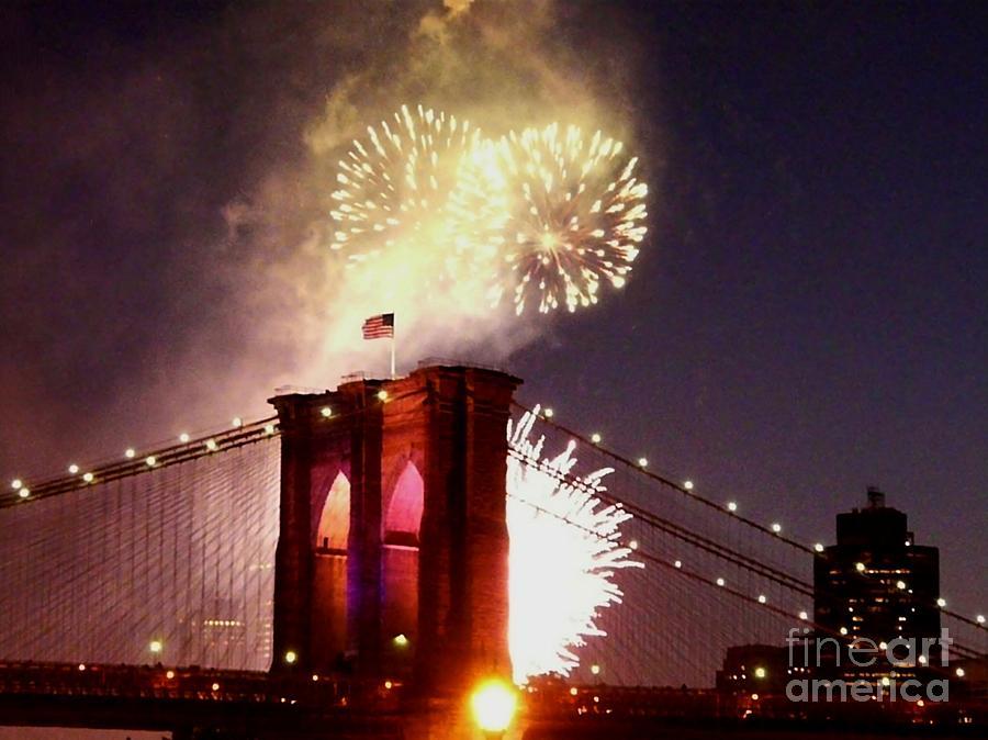 Brooklyn Bridge Photograph - Brooklyn Bridge Celebration by Kendall Eutemey