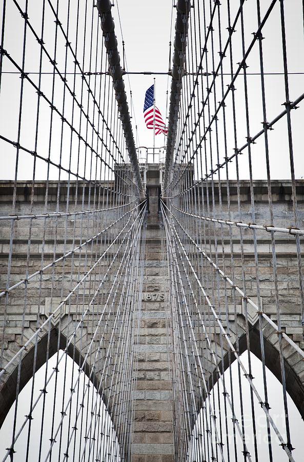 Brooklyn Bridge Flag Photograph by Peter Simmons