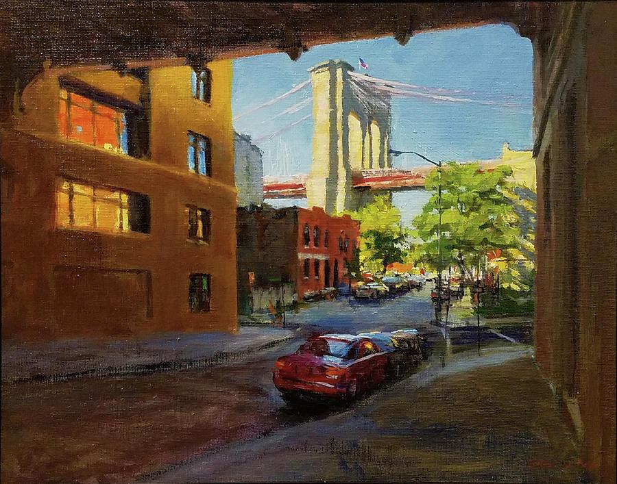 Landscape Painting - Brooklyn Bridge From Everit Street by Peter Salwen