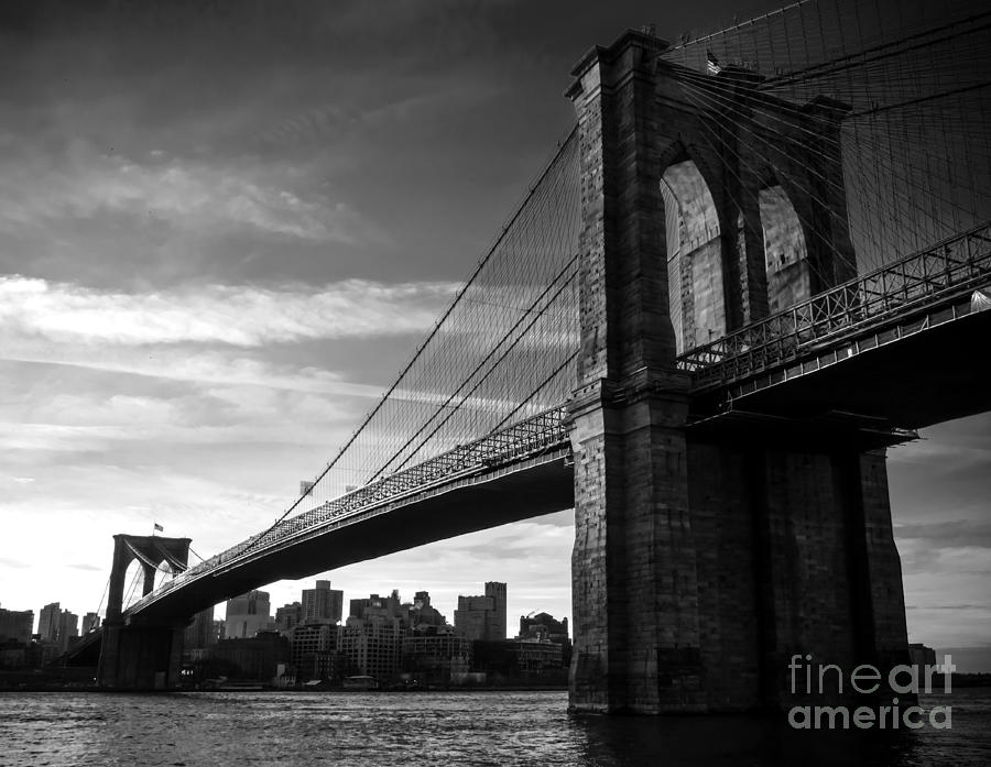 Brooklyn Bridge In Black And White Photograph By James Aiken