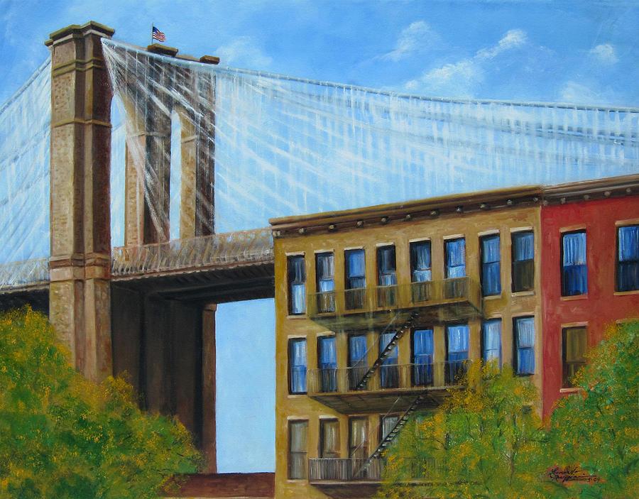 Brownstones Painting - Brooklyn  Bridge by Leonardo Ruggieri
