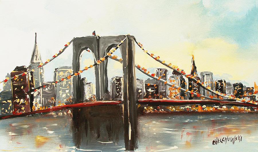 Brooklyn Bridge New York City Painting - Brooklyn Bridge  by Miroslaw  Chelchowski