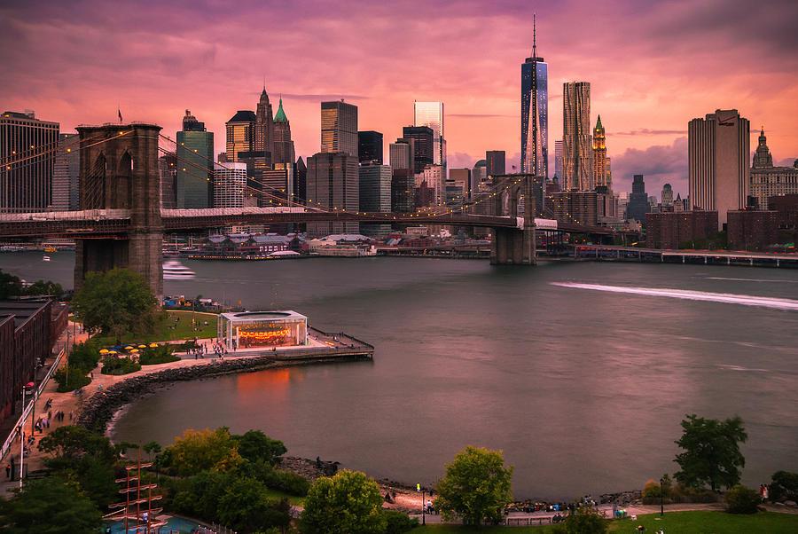 Brooklyn Bridge Photograph - Brooklyn Bridge over New York Skyline at Sunset by Ranjay Mitra