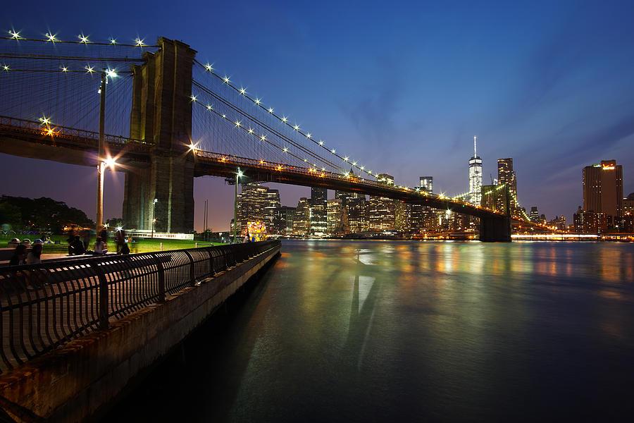 Brooklyn Bridge Park Photograph - Brooklyn Bridge Park Scenic At Dusk by Daniel Portalatin