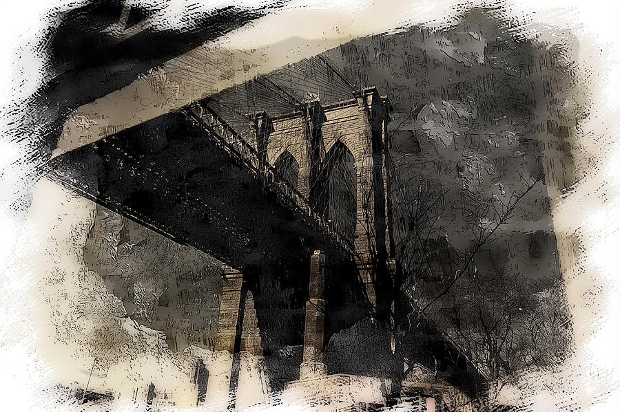 New York Photograph - Brooklyn Bridge Reflection Abstract by Jeff Watts