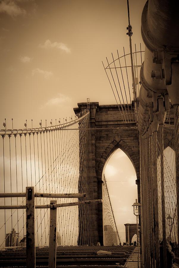 Bridge Photograph - Brooklyn Bridge Span by Patrick  Flynn