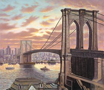 Brooklyn Bridge Painting by Suleyman Mavruk