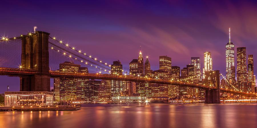 New York Photograph - Brooklyn Bridge Sunset - Panorama by Melanie Viola