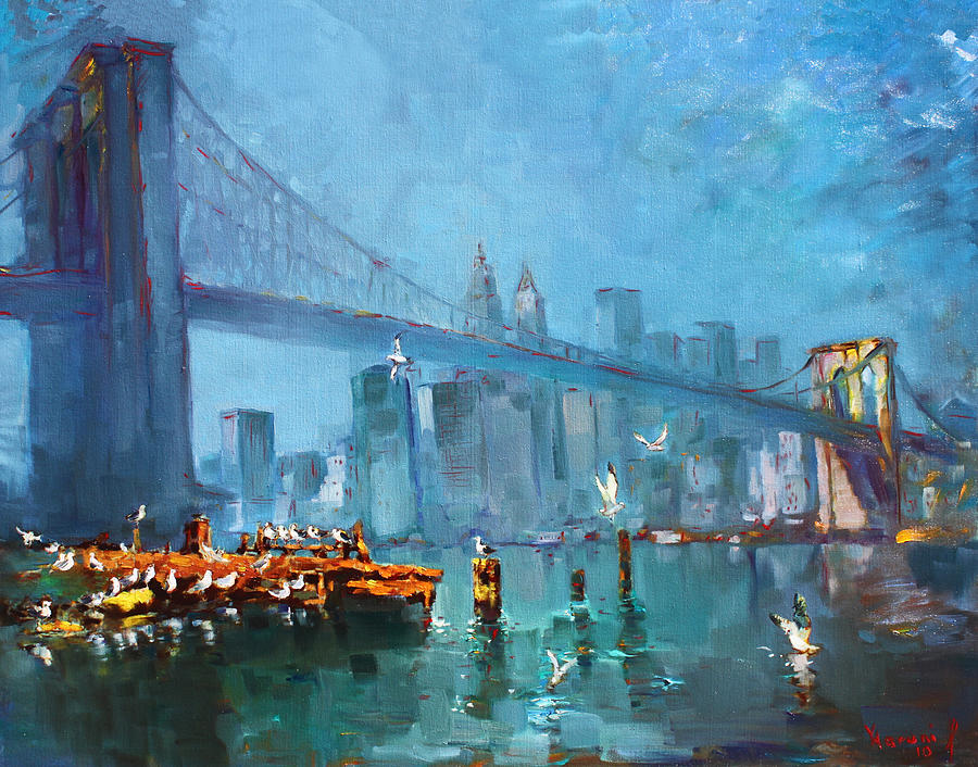 Landscape Painting - Brooklyn Bridge by Ylli Haruni