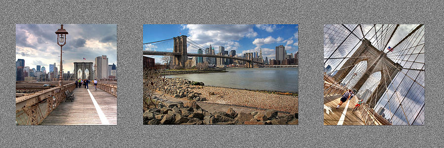 Brooklyn Photograph - Brooklyn Bridge...triptych by Arkadiy Bogatyryov