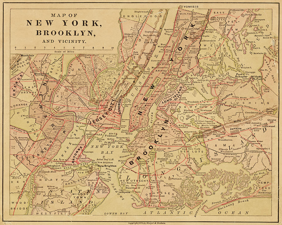 Map Of New York Brooklyn.Brooklyn Ny 1868 Map New York Ny Color By Toby Mcguire