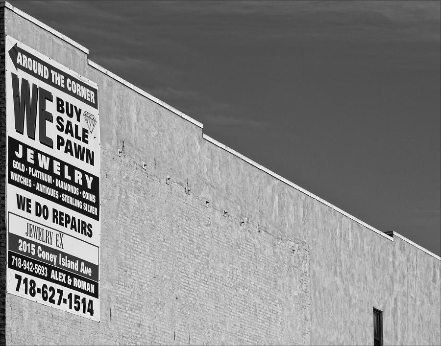 Sign Photograph - Brooklyn Pawnshop Sign by Robert Ullmann