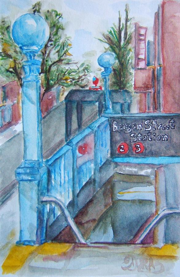 Nyc Painting - Brooklyn Subway Stop by Elaine Duras