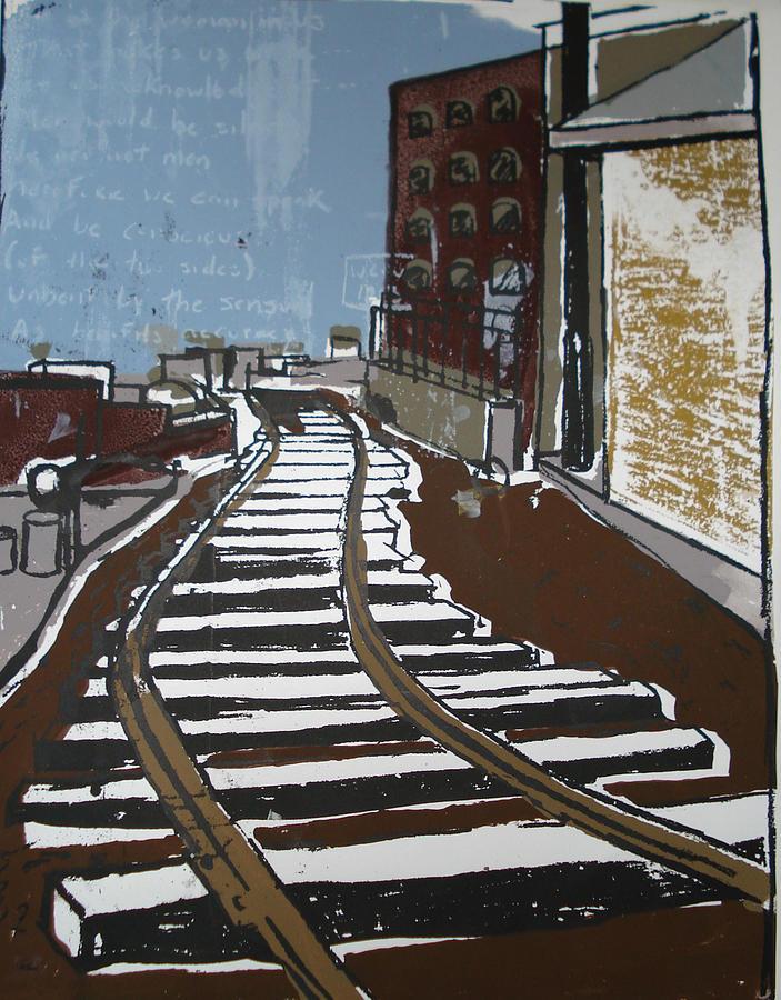 Landscape Painting - Brooklyn Train by Caroline H Duggan