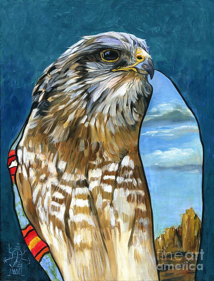 Hawk Painting - Brother Hawk by J W Baker